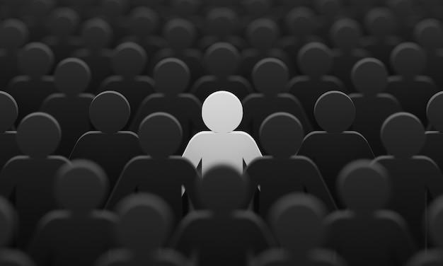Witte kleur beeldje onder menigte zwarte mensen achtergrond