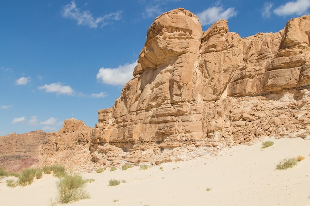 Witte kloof met gele rotsen. egypte, woestijn, het sinaï-schiereiland, dahab.