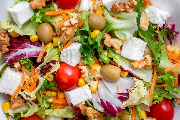 Witte kom met ijsbergsalade en rucola van intens groene en paarse kleur, met een mix van zeer gezonde ingrediënten voor een dieet zoals noten, kaas, kersen, tomaten, olijven, wortelen en maïs.