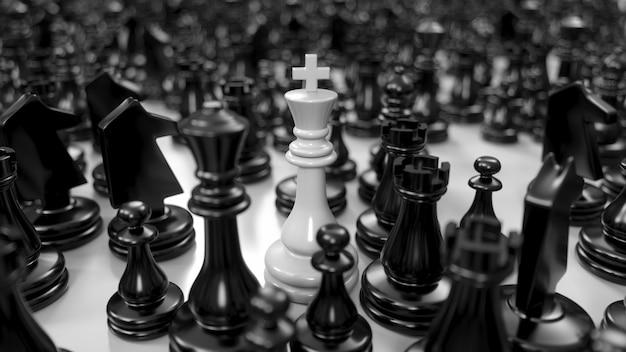 Witte koning staat tussen verschillende zwarte schaakstukken in 3d illustratie