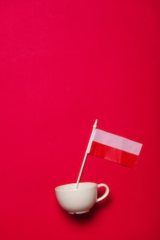 Witte kop en de vlag van polen op rode achtergrond