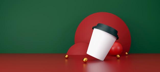 Witte kop koffie op groene en rode achtergrond. 3d illustratie