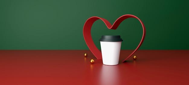 Witte kop koffie op groene en rode achtergrond Premium Foto
