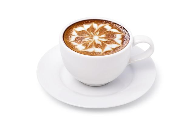 Witte kop latte art koffie met bloemvorm