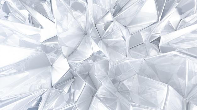 Witte kristallen achtergrond met driehoeken. 3d-weergave.