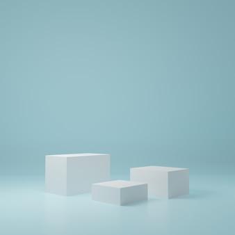 Witte kubus productstandaard in blauwe kamer, studioscène voor product, minimaal ontwerp, 3d-weergave