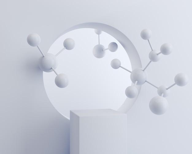 Witte kubusdoos met molecule op witte muur, de achtergrond van het vertoningspodium voor cosmetisch producttribune, het 3d teruggeven.