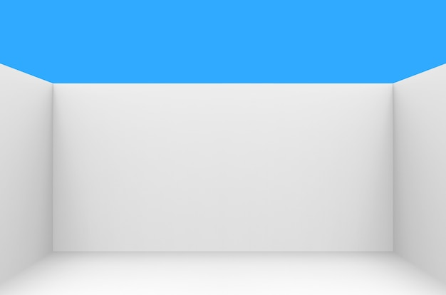 Witte lege hoekkamer met duidelijke blauwe hemel als achtergrond.