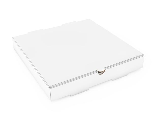 Witte lege kartonnen pizzadoos voor uw ontwerp op een witte achtergrond. 3d-rendering.
