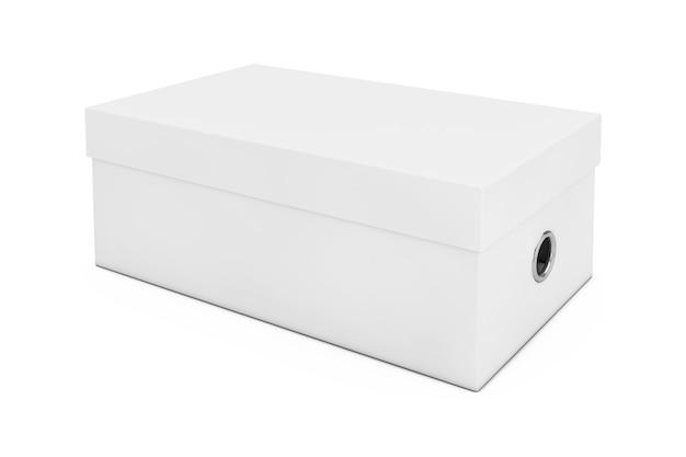 Witte lege kartonnen schoenendoos mockup voor uw ontwerp op een witte achtergrond. 3d-rendering