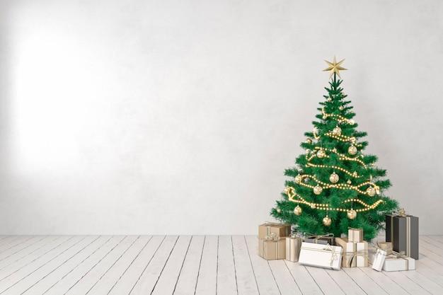 Witte lege muur leeg interieur met kerstboom en geschenken. 3d render illustratie mockup.