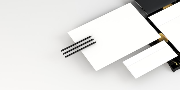 Witte lege papieren documenten en potloden