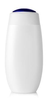 Witte lege plastic fles op geïsoleerde achtergrond.