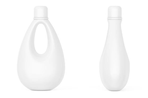 Witte lege plastic fles voor bleekmiddel, vloeibaar wasmiddel of wasverzachter op een witte achtergrond. 3d-rendering.