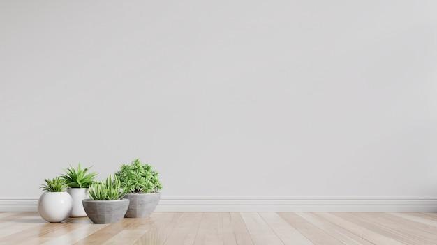 Witte lege ruimte met planten op een vloer.