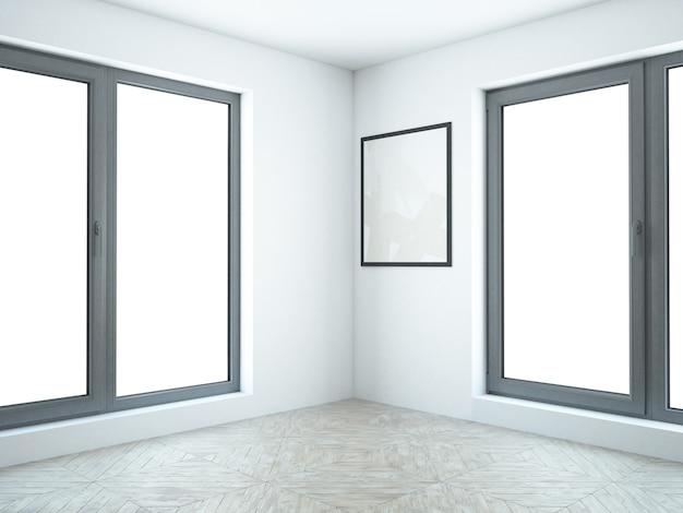Witte lege woonkamer met lijstwerk op de muur en hardhouten vloer