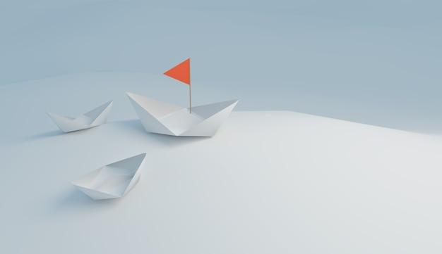 Witte leidersboot met rode vlag onderneemt een leidersactie in team, 3d illustratierendering