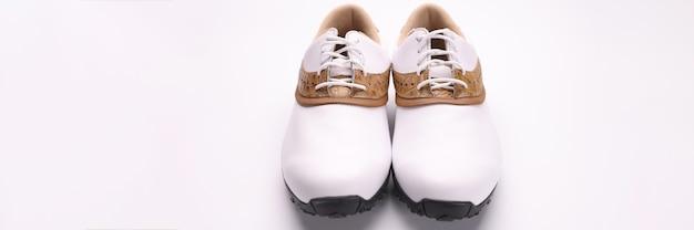 Witte leren laarzen met bruine golfinzetstukken