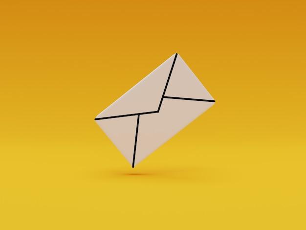 Witte letterpictogram op gele achtergrond voor zakelijke e-mailcommunicatie en contact door 3d-rendering.