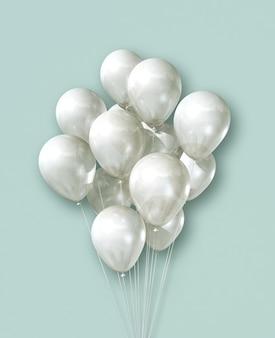 Witte lucht ballonnen groep op een lichtgroene achtergrond
