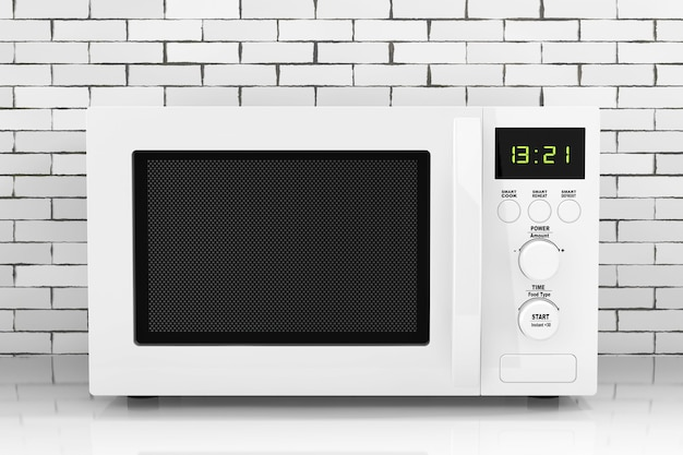 Witte magnetron oven ñˆñ' voorkant van bakstenen muur. 3d-rendering