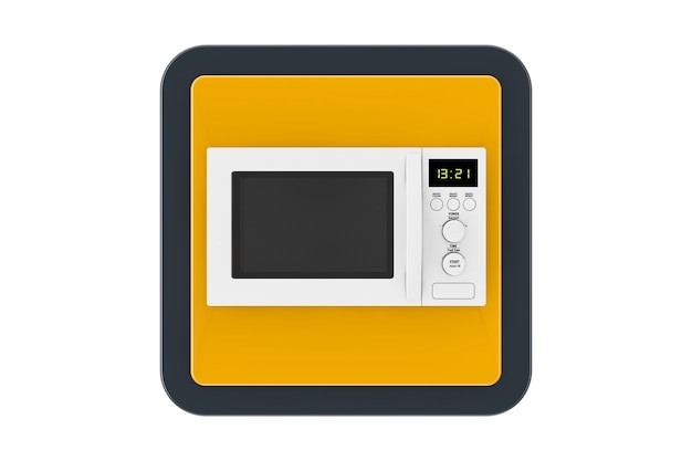 Witte magnetron oven touchpoint web icon button op een witte achtergrond. 3d-rendering