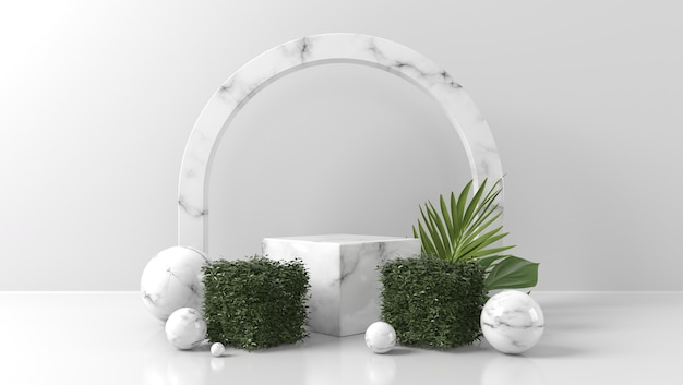 Witte marmeren podiumshowcase voor productplaatsing met bladeren in witte muur Premium Foto