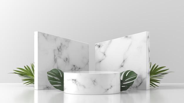 Witte marmeren podiumshowcase voor productplaatsing met bladeren in witte muur