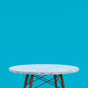 Witte marmeren tafel of productstandaard voor weergaveproduct op blauwe achtergrond