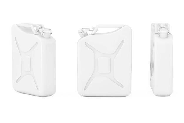 Witte metalen jerrycan met vrije ruimte voor jouw ontwerp op een witte achtergrond. 3d-rendering