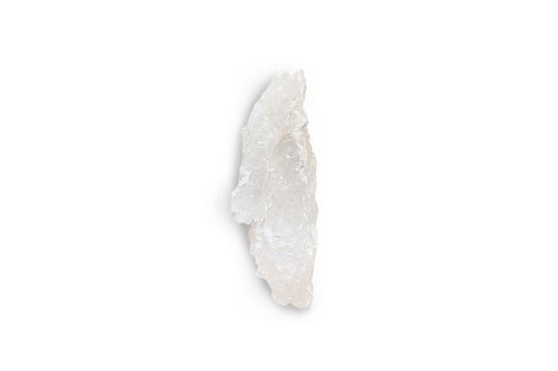 Witte minerale stalactiet, stalagmiet op wit geïsoleerd oppervlak