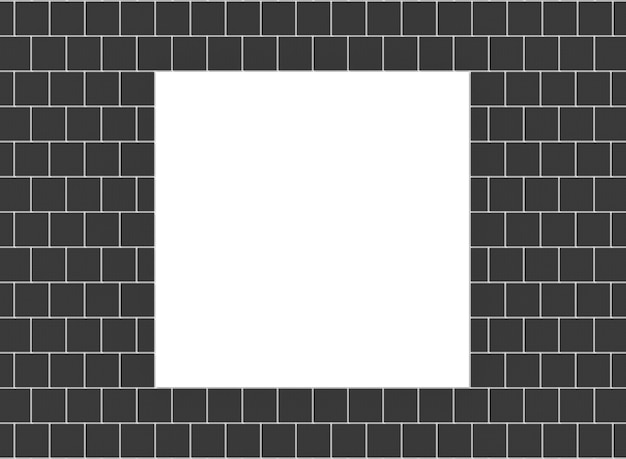 Witte mock up lege lege vierkante ruimte frame op zwarte bakstenen blokken muur achtergrond.