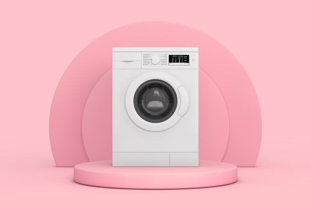 Witte mockup moderne wasmachine over roze cilinders producten podium voetstuk op een roze achtergrond. 3d-rendering