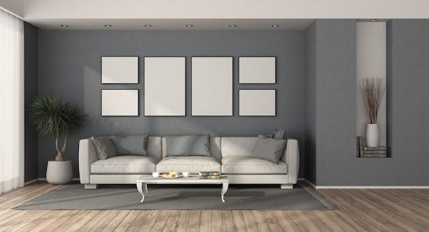 Witte moderne bank in een minimalistische woonkamer met blauwe muren - het 3d teruggeven