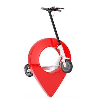 Witte moderne eco elektrische kick scooter met rode kaart aanwijzer pin op een witte achtergrond. 3d-rendering
