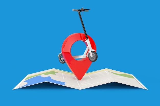 Witte moderne eco elektrische kick scooter met rode kaart aanwijzer pin over stadsplattegrond op een blauwe achtergrond. 3d-rendering