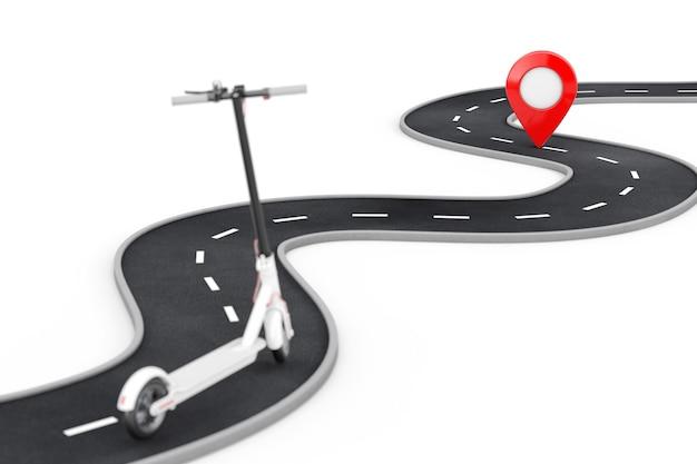 Witte moderne eco elektrische kick scooter volg de kronkelende weg naar bestemming red pin target pointer aan het einde van de weg op een witte achtergrond. 3d-rendering