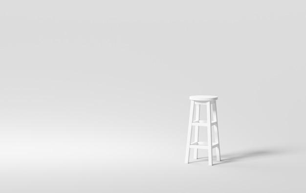 Witte moderne stoel stoel meubelontwerp op schone achtergrond met café decoratie. 3d-weergave.