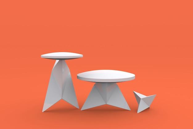 Witte moderne vorm podium product display voetstuk van platform display 3d render