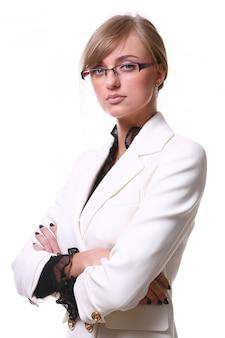 Witte mooie blonde bedrijfsvrouw
