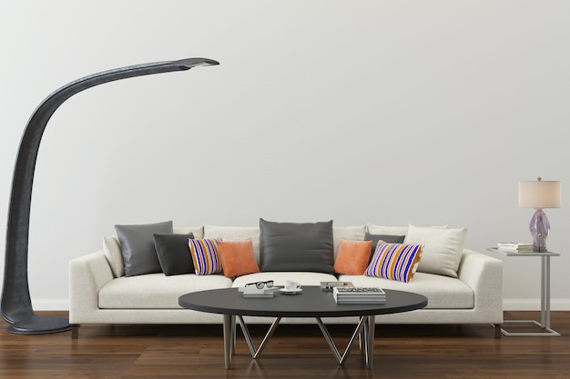 Witte muur houten vloer sofa woonkamer huis achtergrond sjabloon