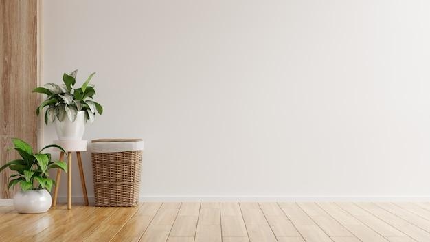 Witte muur lege ruimte met planten op een vloer, 3d-rendering