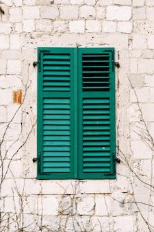 Witte muur van het oude huis met nieuwe groene luiken