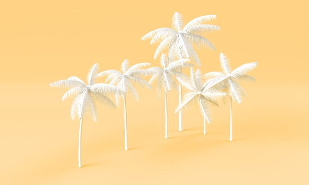 Witte palmboom 3d render op oranje achtergrond