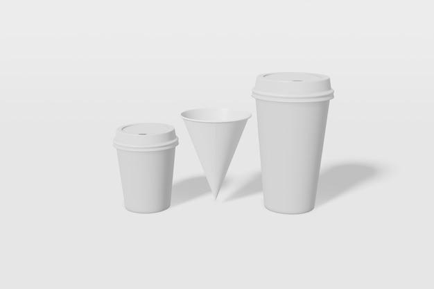 Witte papieren bekers van verschillende formaten