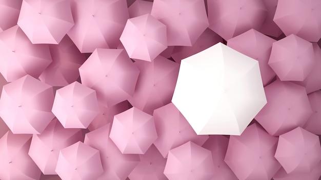 Witte paraplu op de vele roze parasols. 3d illustratie.