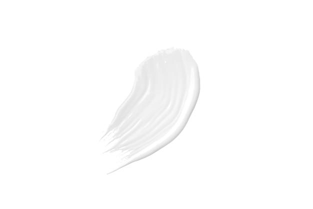Witte penseelstreek van acrylverf geïsoleerd op een witte achtergrond.