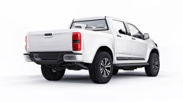 Witte pick-up auto op een witte achtergrond. 3d-rendering.