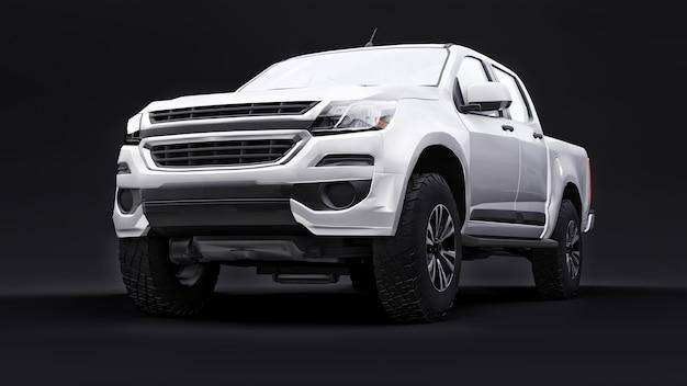 Witte pick-up auto op een zwarte achtergrond. 3d-rendering.