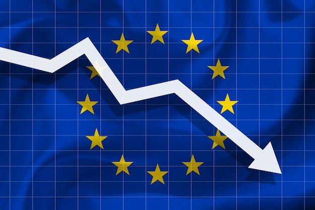 Witte pijl valt tegen de achtergrond van de vlag van de europese unie
